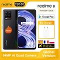Realme 8 глобальная версия смартфона 64 Гб 128 64-мегапиксельная четырехъядерная камера Helio G95 6,4 ''amoled Экран 5000 мА/ч, Батарея 30 Вт Дротика заряда