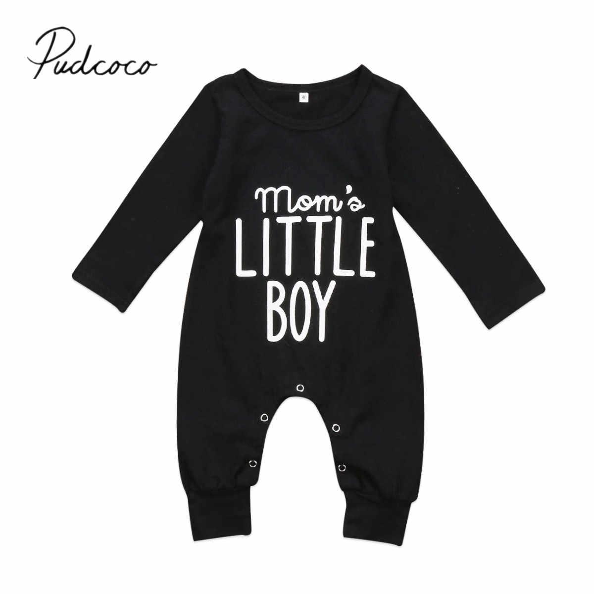 2019 新秋冬新生児男の子ロンパース長袖綿ファッションジャンプスーツ遊び着リトル少年衣装黒服