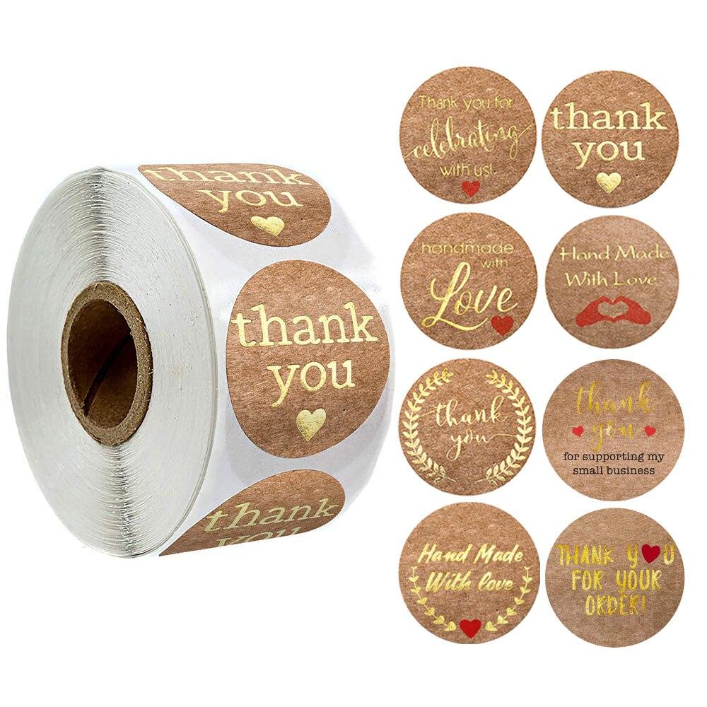 500 шт. крафт-бумага, благодарим вас, наклейки s, этикетки для печати, круглые Стикеры с золотыми листьями, рулоны для школы, маленького магазин...