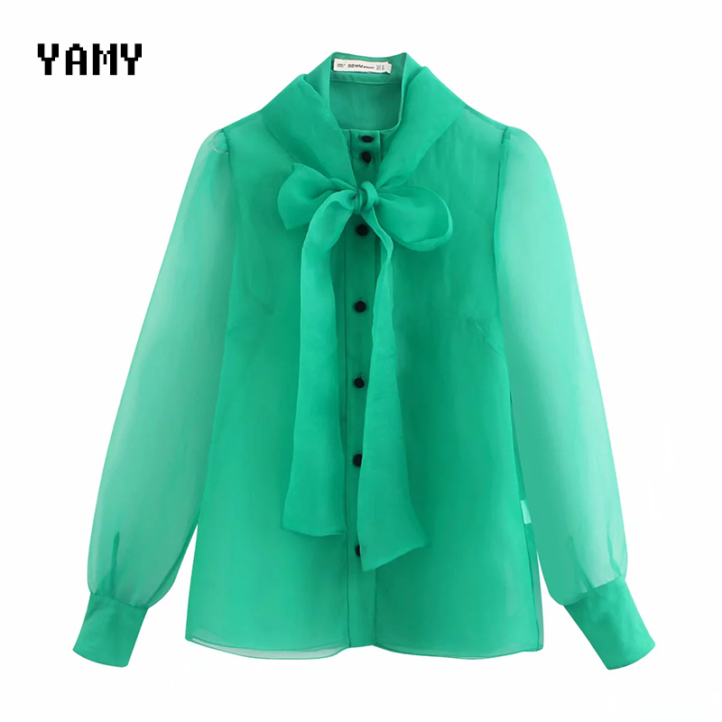 New Womens Green Blouses Shirt 2020 Long Sleeve See Through Zoravicky Bowtie Organza Shirt Womens Tops And Blouses Za Tops 2020