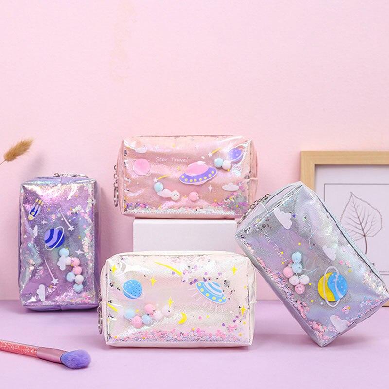 Laser Leather Cartoon Star Pattern Pencil Case Girls Cute Makeup Bag Office School Travel Supplies Zipper Coin Bag High Quality