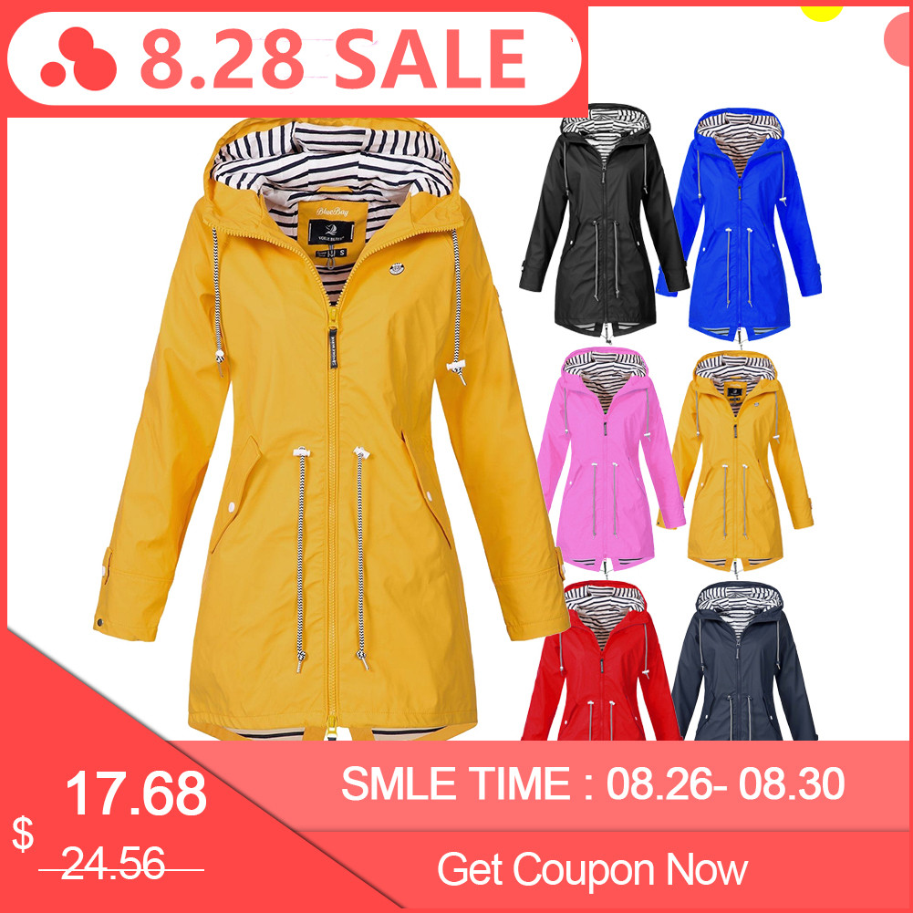 Outdoor Jacket Raincoat Windbreaker Motorcycle Waterproof Women Long D25 Solid-Color
