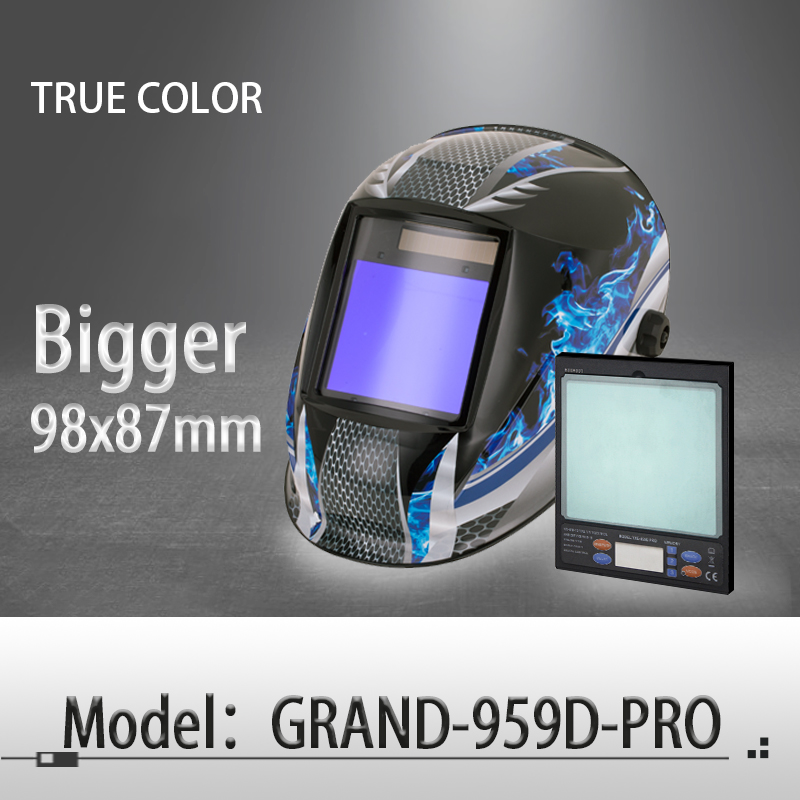 Auto darkening welding helmet/welding mask/MIG MAG TIG True Color/Real Color/4arc sensor/Solar cell (Grand-918I/958I)
