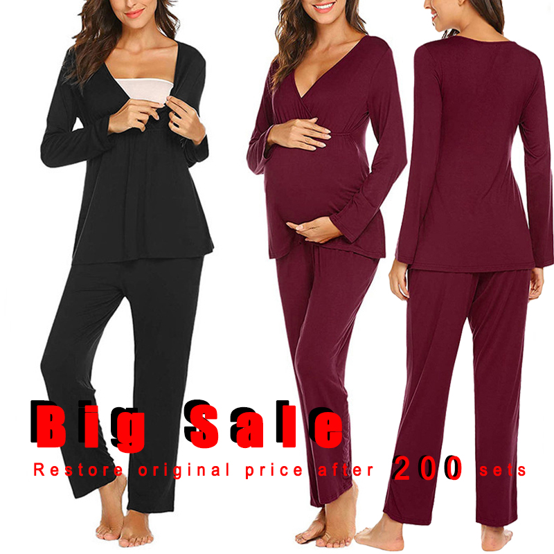 Popular Maternity Long Sleeve Nursing Pajamas Adjustable Breastfeeding Homewear for Pregnant Women V-neck Pijama Sleepwear Sex