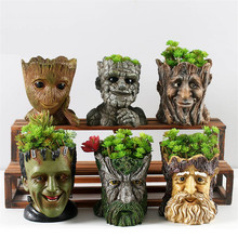 Resin Flower Pots For Garden Planters Creative Cartoon Statue & Animal Desktop Bonsai Pots Succulent Plant Pot Flowerpot 2019 1piece ice crack ceramic flower pots for juicy plants small bonsai pot home garden desktop decorations succulent plant pots