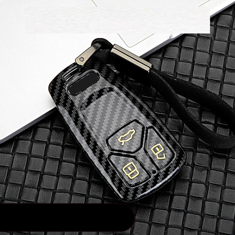 Glossy Carbon fiber ABS Car Remote Key Case Fob Cover For Audi A4 Allroad B9 Q5 Q7 TT TTS 4M 8S 2016 2017 2018 Auto Accessories