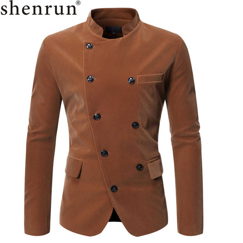 Shenrun Men's Blazers Black Wine Red Coffee Autumn Winter Casual Stand Collar Suit Jacket Corduroy Male Jackets Double Breasted