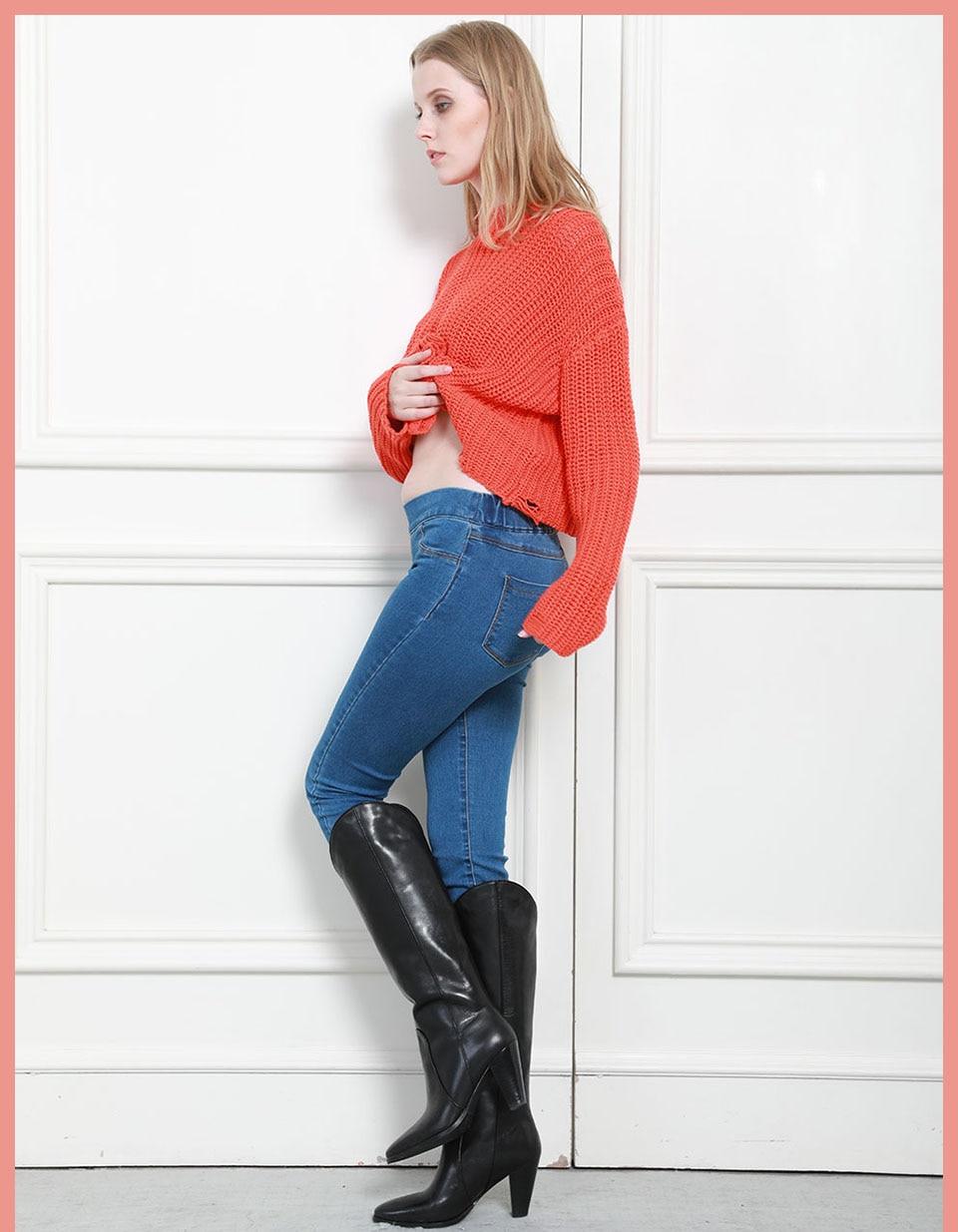 Autumn Winter minimalist Women Denim Skinny Stretch Fake Front Pocket Medium Waist Washed Blue Slim Elastic Lady Jeans 10