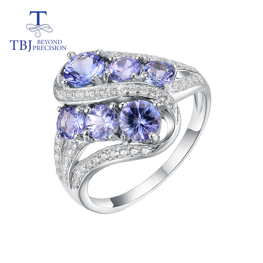 Fine-Jewelry Gemstone-Ring Tanzania 925-Sterling-Silver Women Blue TBJ 2ct for Wife Mom