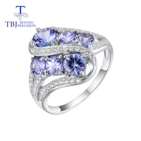 TBJ, 100% Natural Tazanite Ring 925 sterling silver ,2ct tanzania blue gemstone Ring fine jewelry for women wife mom nice gift