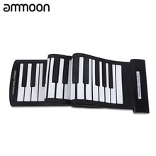 Portable 61 Keys Flexible Roll-Up Piano USB MIDI Electronic Keyboard Hand Roll Piano Sustain Damper Pedal Page Turner Pedal NEW