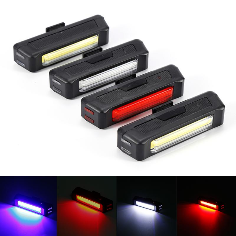 New 6 Modes COB LED Bicycle Bike Cycling Front Rear Tail Light USB Rechargeable