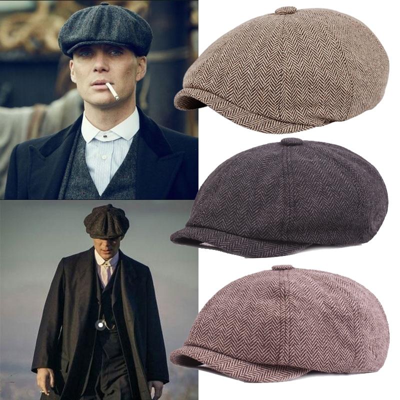 Мужской берет, винтажная твидовая шляпа с узором в елочку, Гэтсби, Кепка-берет газетчика, весенне-зимний плоский берет, головные уборы