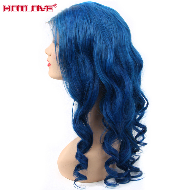 #Blue Color Lace Front Human Hair Wigs Brazilian Body Wave Wigs 13x4 Lace Front Wig Pre Plucked With Baby Hair Remy 150% Density 3