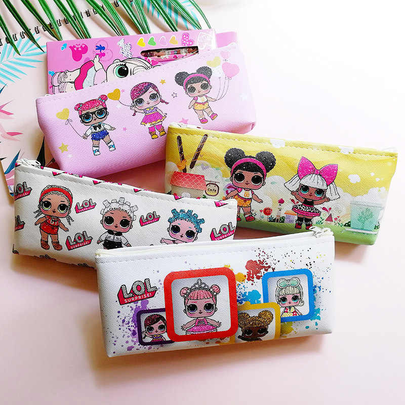 Canvas Kawaii Cartoon LOL Surprise Doll Print Girl Pencil Case Student Stationery Office Stationery Pencil Bag Back to School