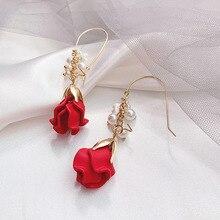 Fashion rose petal earrings female pearl tassel ear pendant long temperament advanced feeling French Internet celebrity