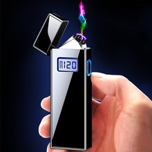 Двухдуговая usb Зажигалка светодиодный дисплей батареи ветрозащитная