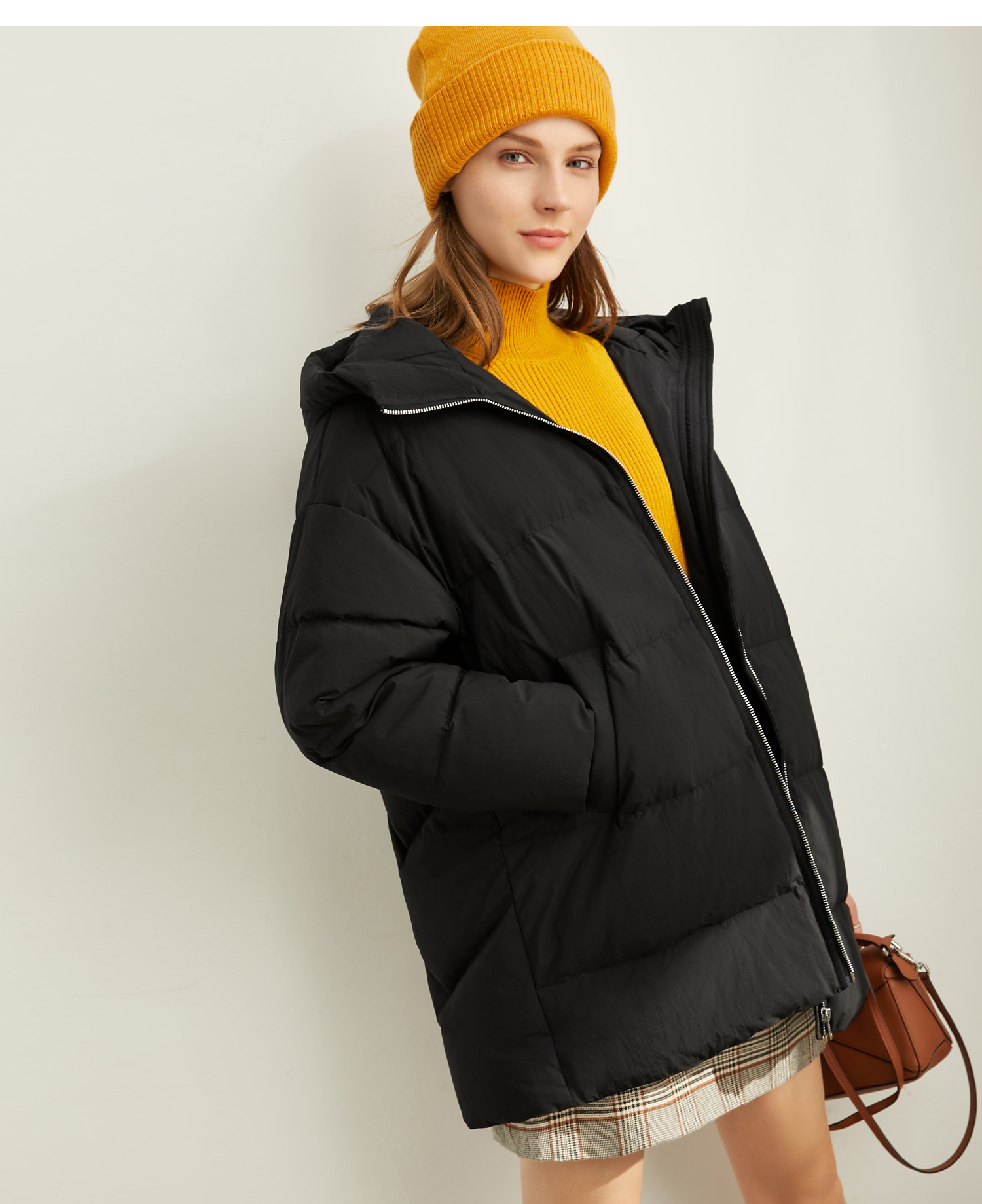 Amii Fashion Women Down Jacket Casual Solid Loose Hooded Zipper Female Thick Down Coat 11930381