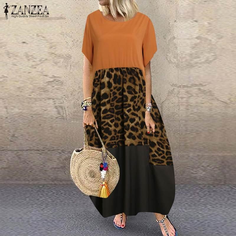 Summer Patchwork Dress Women Bohemian Leopard Print Sundress Vintage Short Sleeve Baggy Long Vestido Plus Size Dresses 1