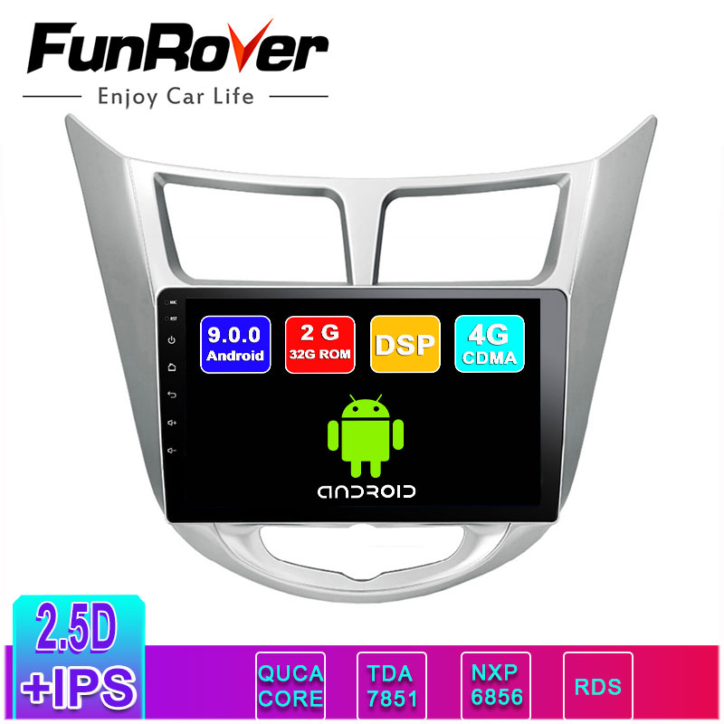 Funrover <font><b>2</b></font>.5D+IPS android 9.0 <font><b>Car</b></font> <font><b>Radio</b></font> Multimedia Player dvd GPS Navigation <font><b>For</b></font> <font><b>Hyundai</b></font> <font><b>Solaris</b></font> Verna Accent i25 2010-2016 RDS image
