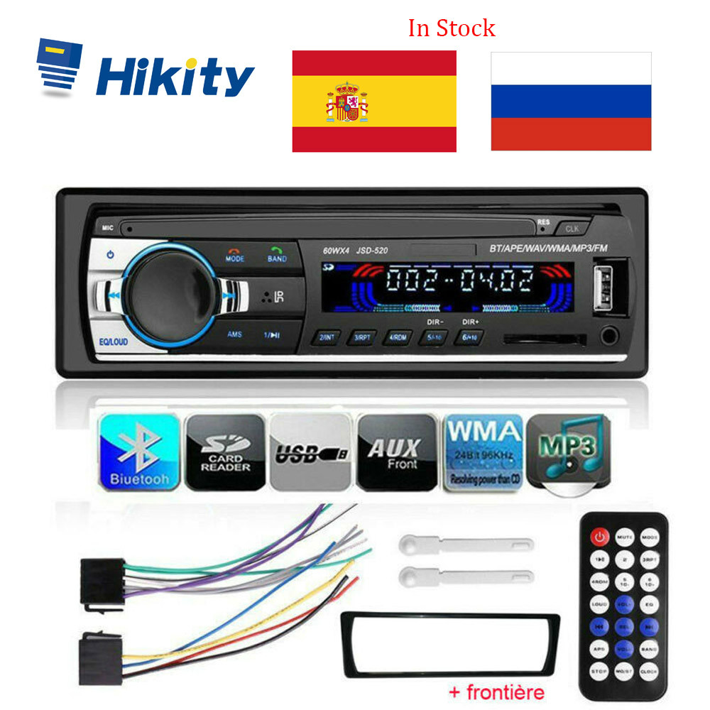 Hikity Mp3-Player Autoradio Input-Receiver Car-Stereo Bluetooth SD 1-Din JSD-520 Aux title=