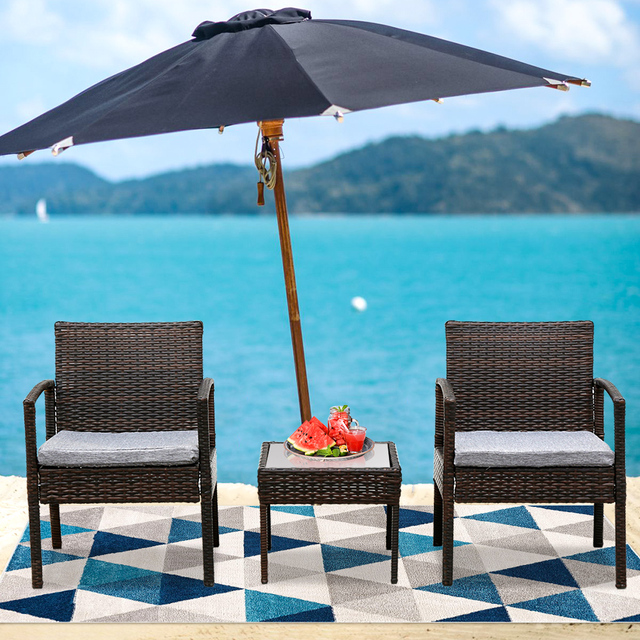 3PC Patio Furniture Wicker Rattan Outdoor Conversation Set  2