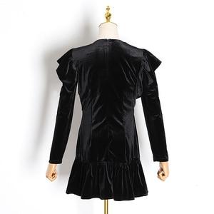 Image 5 - TWOTWINSTYLE Elegant Patchwork Diamond Ruffle Dress For Women V Neck Long Sleeve High Waist Dresses Female 2020 Autumn Fahsion