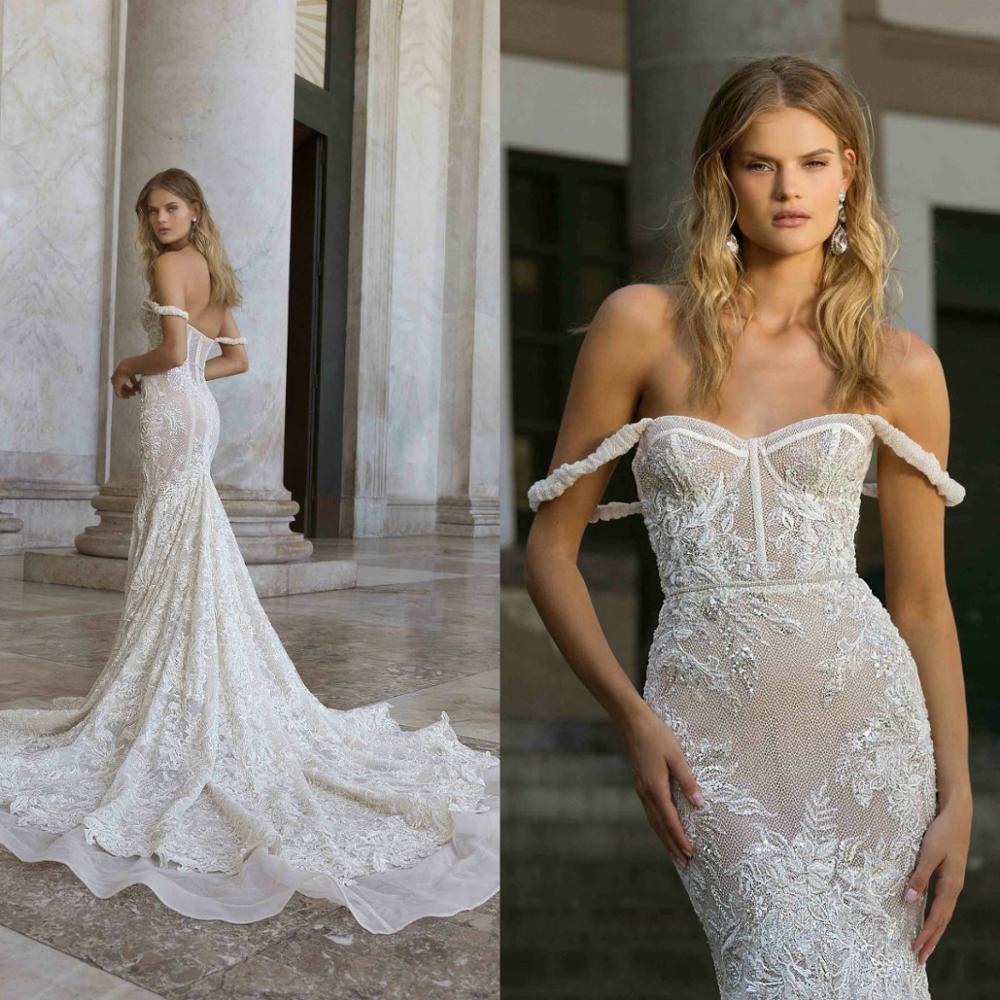 Mermaid Wedding Dresses 2020 Spsghetti Off Shoulder Lace Sweep Train Backless Boho Bridal Gowns Sweetheart Illusion Robe De Mari