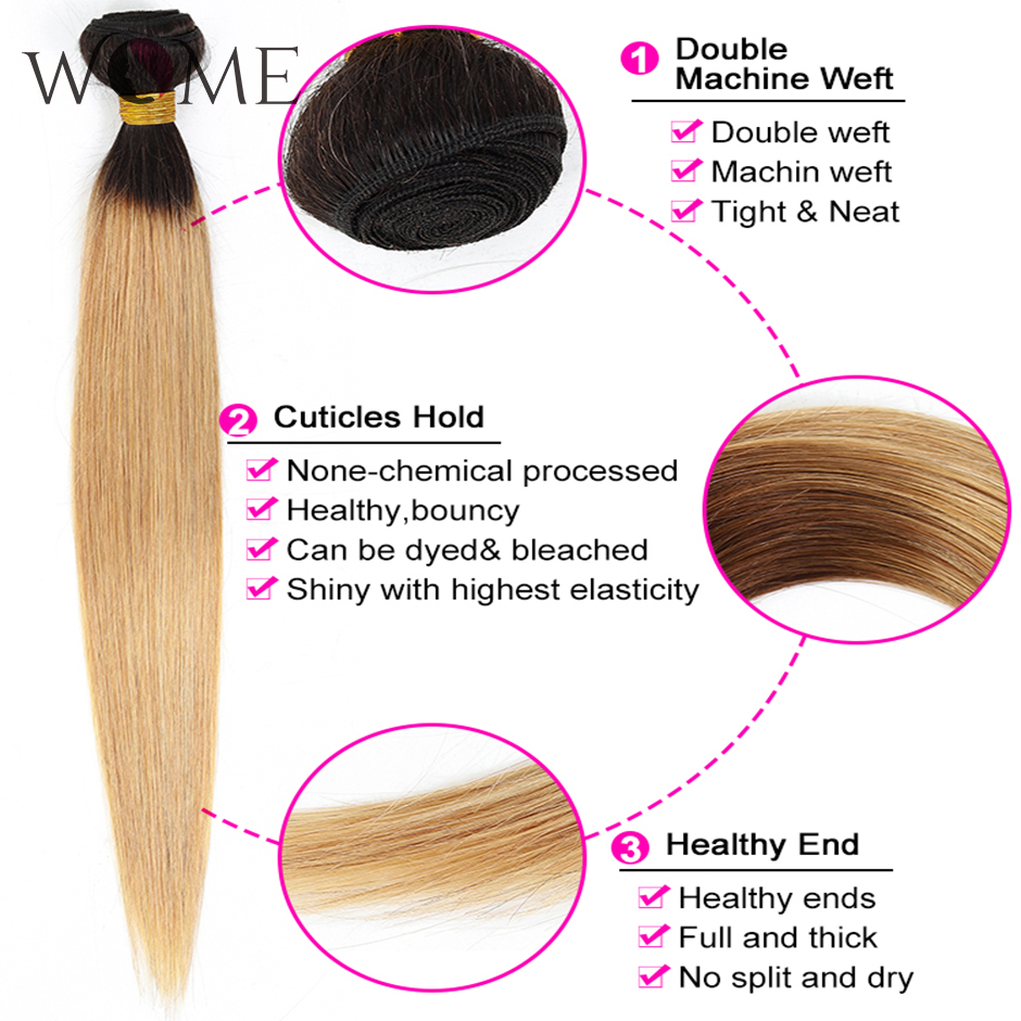 WOME/эффектом деграде(переход от темного к прямые волосы пряди предварительно цветной 1b/27 1b/30 1b/99j человеческие волосы пряди 1/3/4 шт. два тона волосы с разной направленностью кутикулы