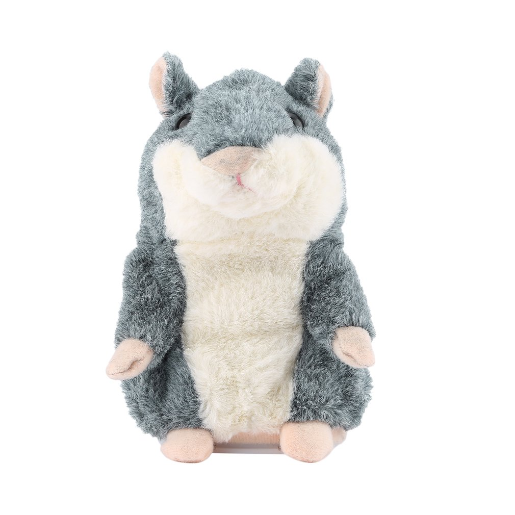 Lovely Cute Interactive Funny Talking Hamster Plush Toy Speak Talking Sound Record Hamster Animal Educational Toy Gray