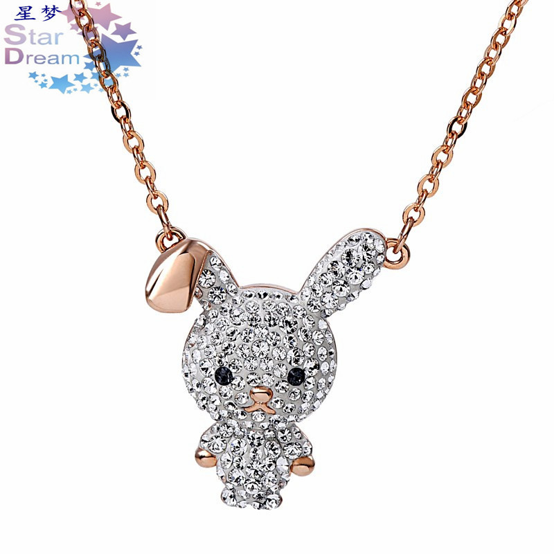 Popular Ornament Cute Rabbit Necklace Swarovski Element Crystal New Products Cute Adorable Interest Rabbit Necklace Women's