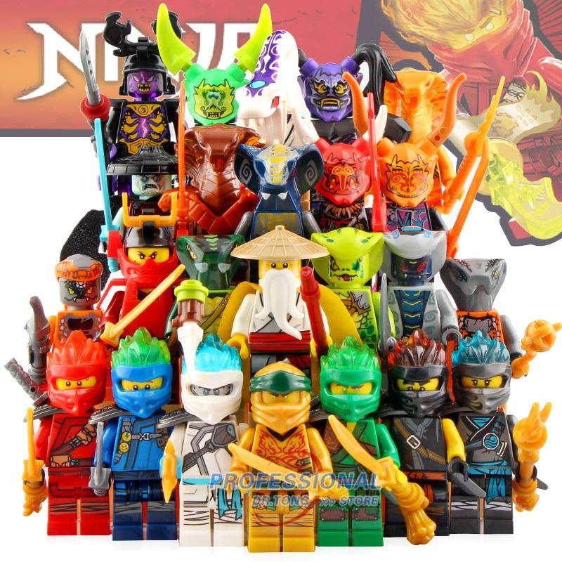 DG1001 figurines Ninja maître Wu Kai Jay Cole Zane Lloyd Pythor serpent Action blocs de construction briques cadeaux enfants jouets
