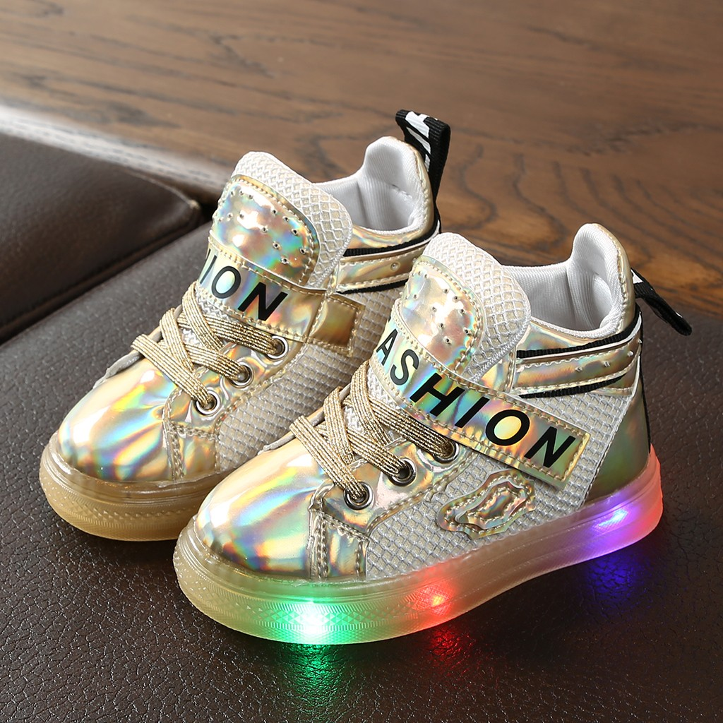 Children LED Sports Sneakers Boys Girls Toddler Kids Running Light Casual Shoes