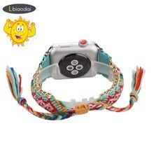 Плетеный веревочный ремешок для apple watch 5 ремешок 44 мм 40 мм iwatch ремешок 42 мм 38 мм браслет ремень ручной работы часы Ремешки для наручных часов серия 5 4 32