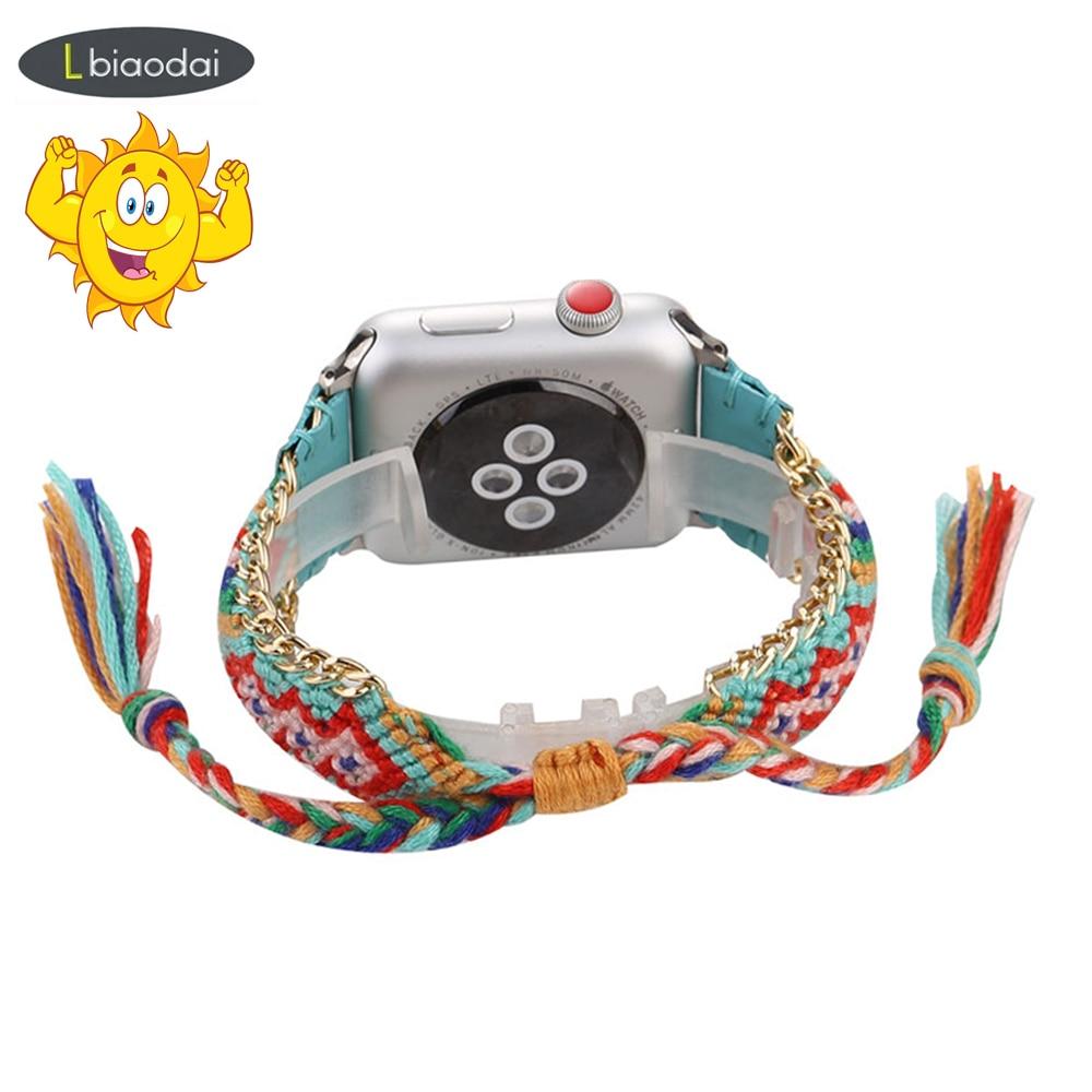 Braided Rope Strap For Apple Watch 4 Band 44mm 40mm Iwatch Strap 42mm 38mm Bracelet Belt Handmade Clock Watchbands Series 5 4 32