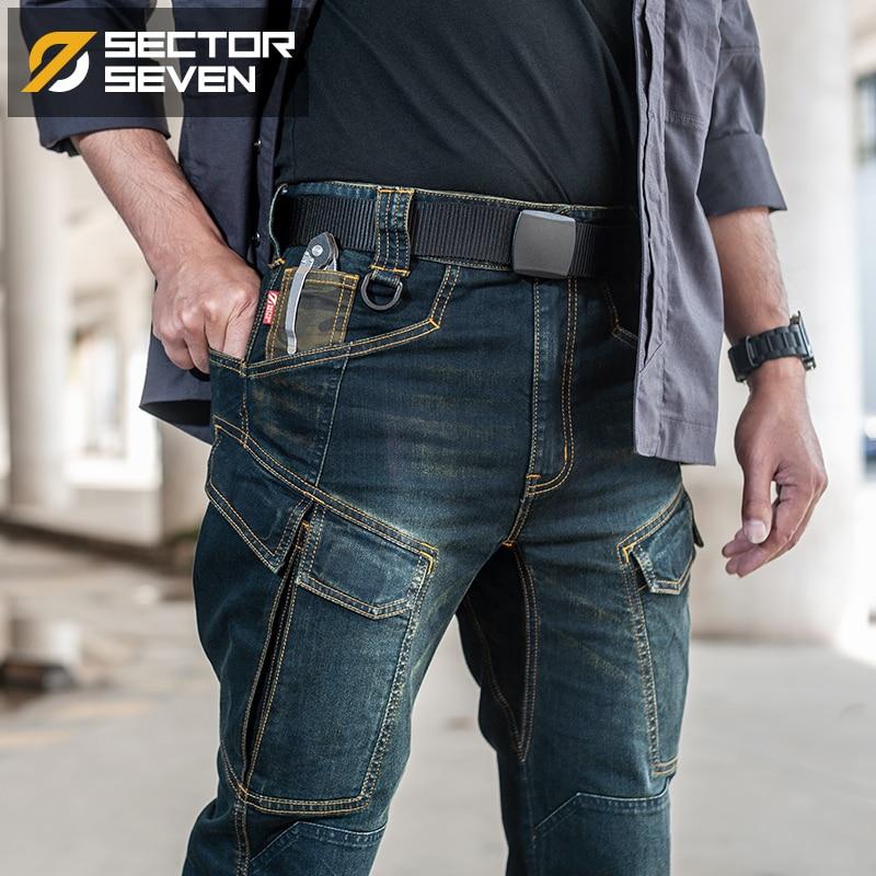 Sector Seven 2020 New Slim City Casual Jeans  Men Mid Waist Straight Denim Jeans Classic Indigo Blue Black Jeans Wear-resistant