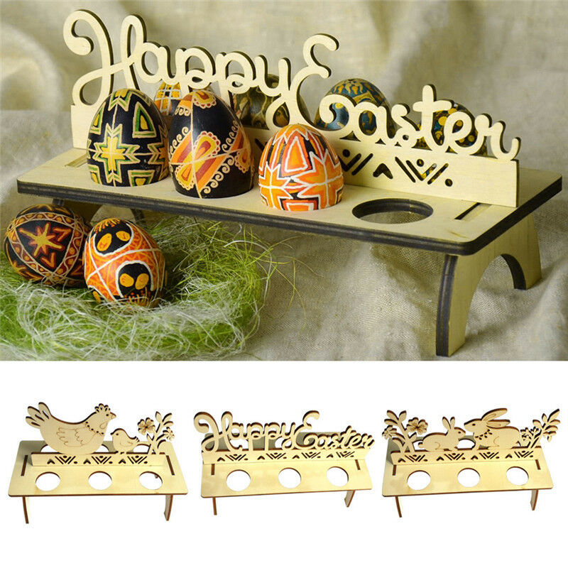 Wooden Easter Egg Tray Holder Stand Happy Easter Rabbit Chick Egg Shelves For Easter Party Ornament Home Shop Windows Decor