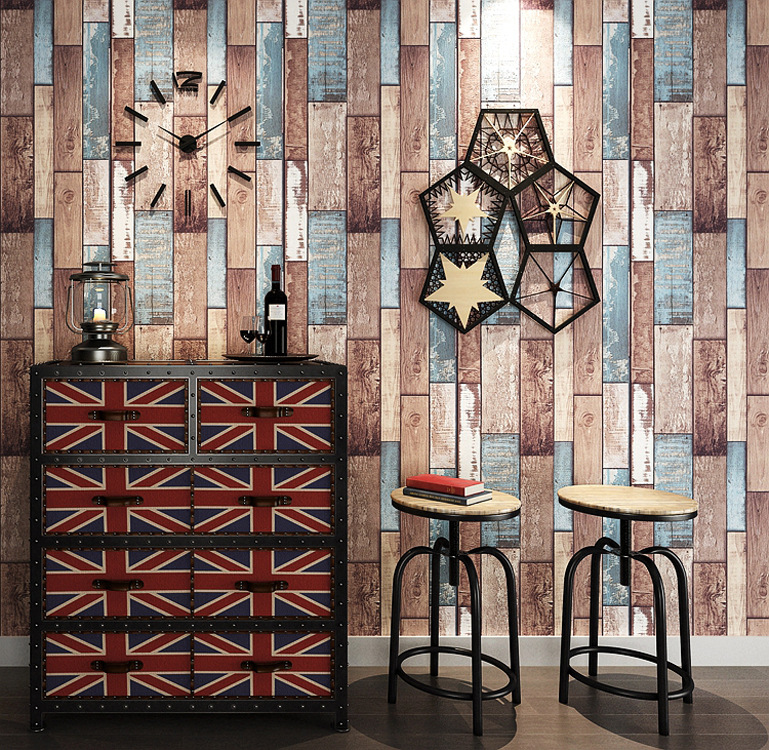 American Vintage Retro Color Board 3D Wood Grain Wallpaper Bar Cafe Internet Cafe Clothing Store Industrial-Style Wallpaper