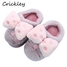 Children Slippers Lovely Bow Winter Warm Indoor for Mother Daughter Home Floor Non Slip Shoes Princess Girls