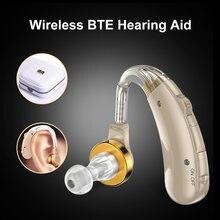 Aparelho auditivo dos instrumentos auditivos de bte volume ajustável portátil para os idosos amplificador de som da perda auditiva