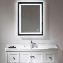 Horizontal LED Lighted Bath Vanity Wall Cosmetic Makeup Mirror With Touch Button Rectangular Home Bathroom Mirror Wall Decor HWC