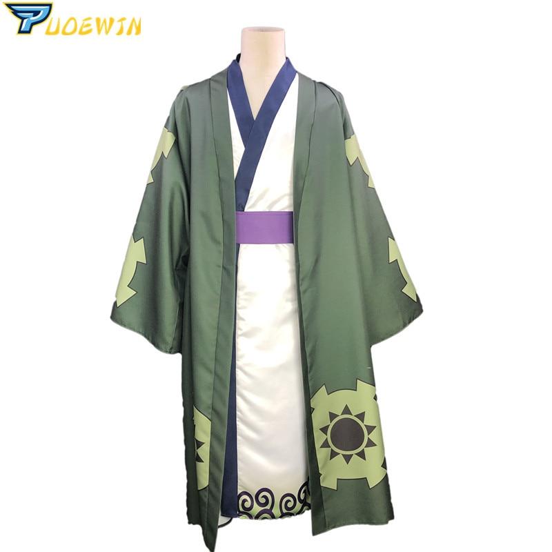 Uma peça wano país roronoa zoro quimono cosplay traje