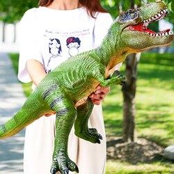1 pçs modelo animal brinquedo grande simulação de borracha macia tyrannosaurus modelo de brinquedo com efeito de som rugido presentes engraçados para crianças