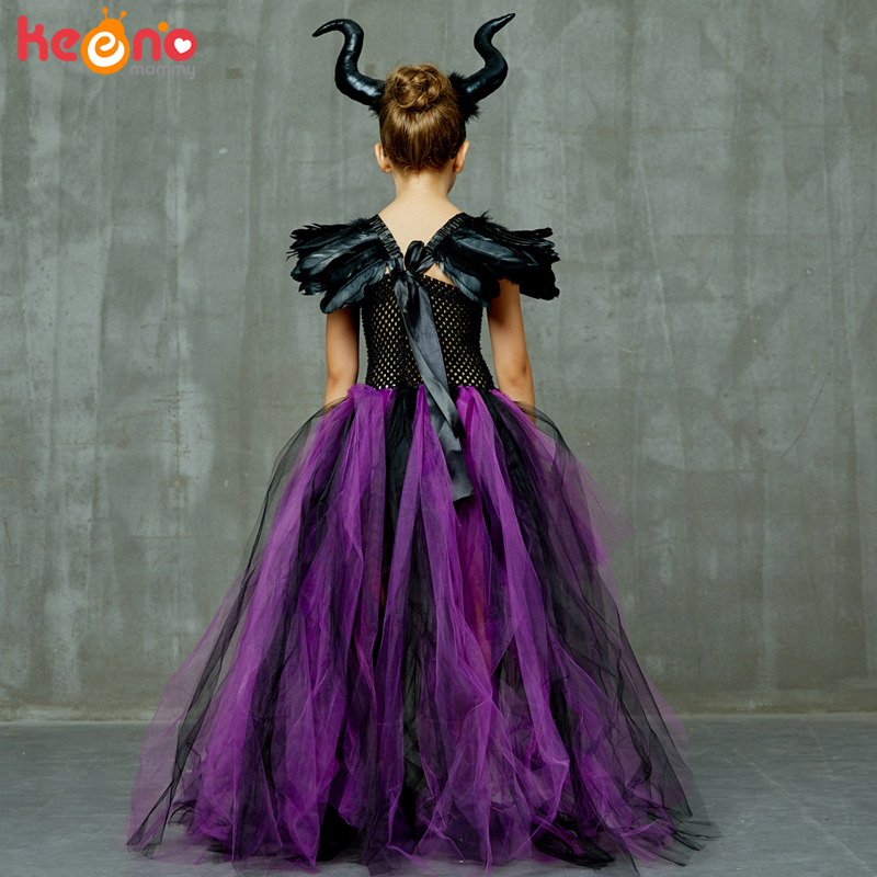 Halloween Maleficent Evil Dark Queen Girls Tutu Dress with Horns Wicked Witch Kids Cosplay Party Ball Gown Costume Fancy Clothes 4