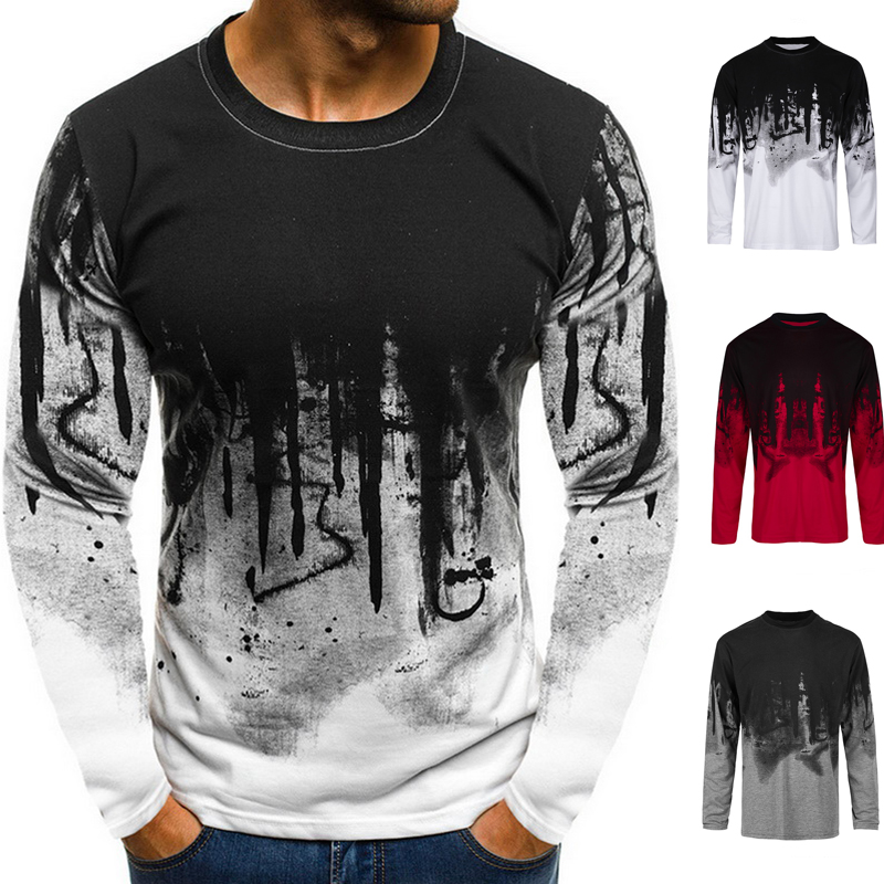 2020 Spring Plus Size T Shirt Men Long Sleeve O Neck Loose Tops Tees Casual Camouflage Printed Streetwear Male Hip Hop T-shirt