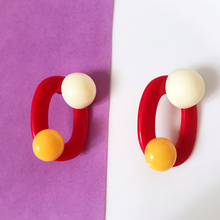 цена на Vogallery Big Fashion Women Drop Earrings Red Yellow O Shape Candy Color Summer Earrings Jewelry Vintage