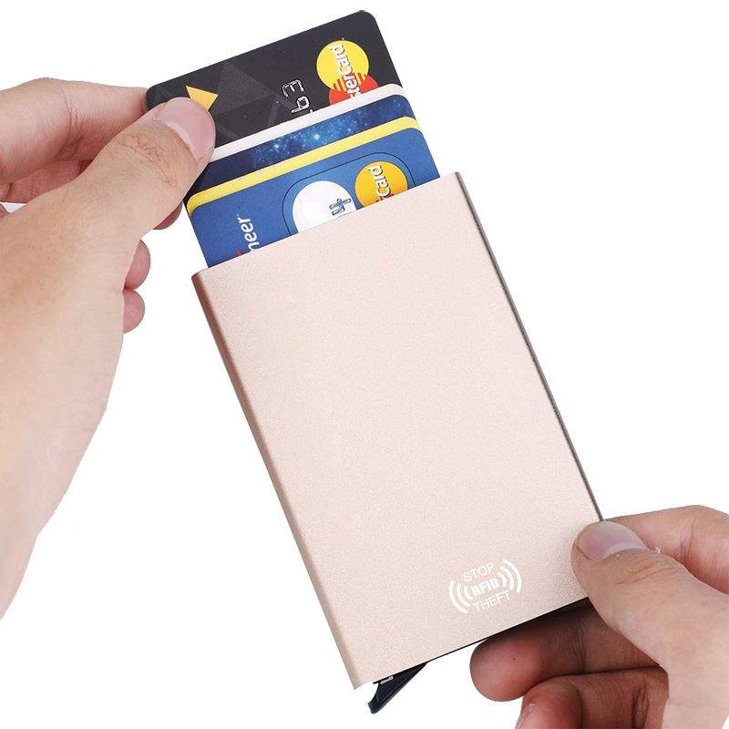 RFID Anti theft luxury ID Card Holder Unisex Automatically Solid Metal Bank Credit Card Holder Wallet Women Men Aluminum Case