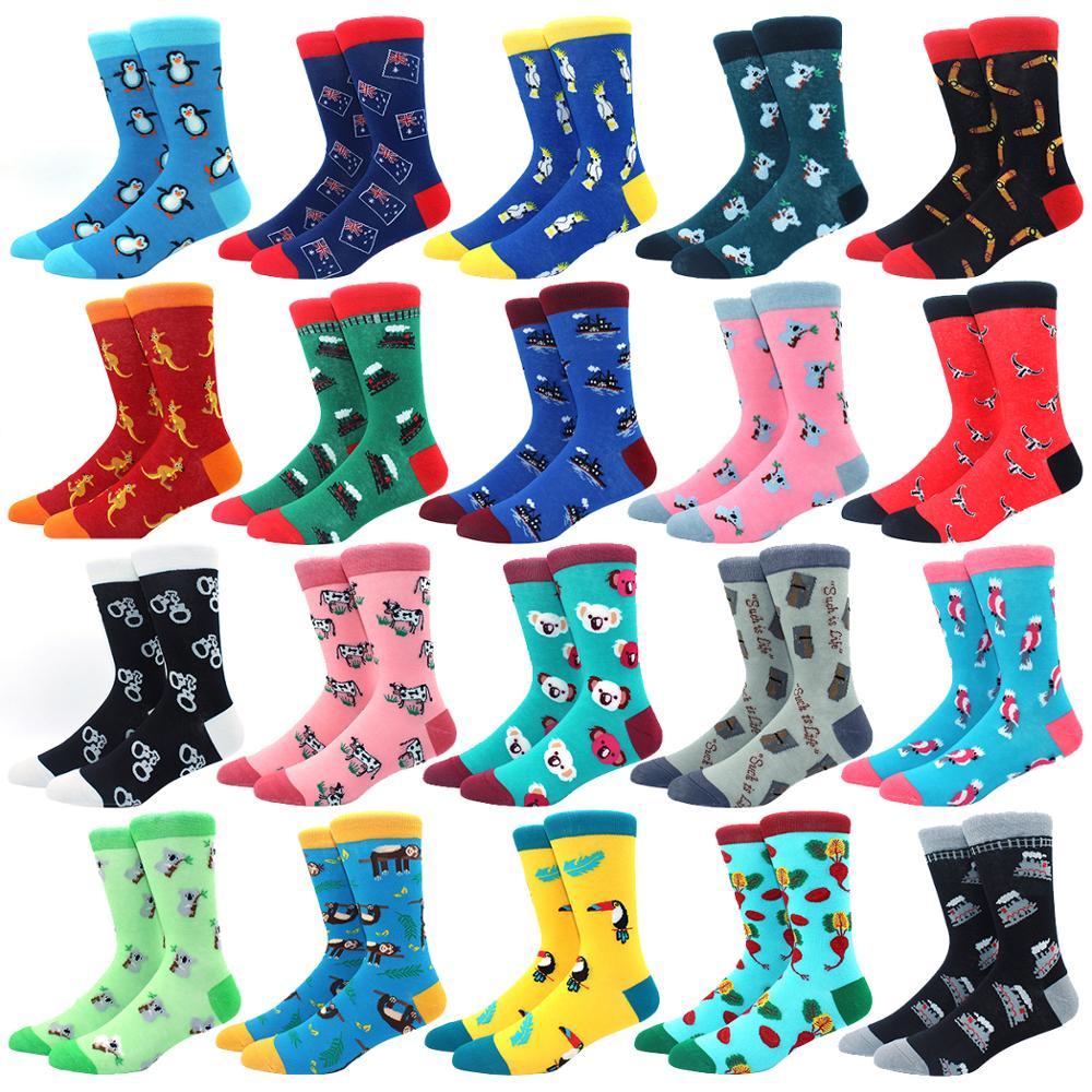 Симпатичные Модные мягкие новые хлопковые женские носки Пингвин коала наручники красочные Мультяшные Веселые носки для девочек подарок