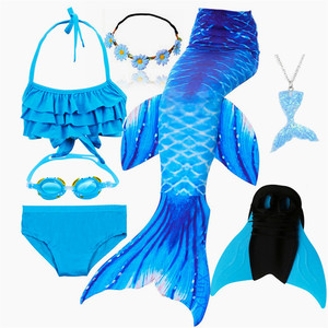 Image 4 - Kids Swimmable Mermaid Tail for Swimming Children Swimming Mermaid Tails With Monofin Fin Girls Kids Mermaid Cosplay Costume