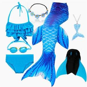 Image 4 - 수영을위한 키즈 수영복 인어 꼬리 Monofin Fin girls가있는 인어 꼬리 수영 Kids Mermaid Cosplay Costume
